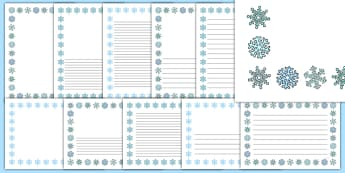 Snowflake Portrait Page Borders- Portrait Page Borders - Page border, border, writing template, writing aid, writing frame, a4 border, template, templates, landscape