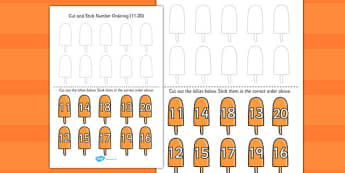 Summer Themed Cut and Stick Number Ordering Activity 11 20 - cut