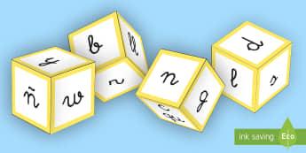 Plantilla: Dados de los consonantes - lecto, leer, lectura, sonidos, letra , lecto-escritura, letra, fónema, sonidos,Spanish, consonantes