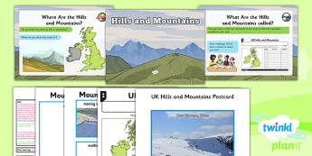 PlanIt - Geography Year 3 - The UK Lesson 4: Hills and Mountains Lesson Pack - geography, UK, county, counties, mountains, London