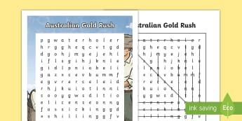 Gold Rush Australia Word Search - Gold Rush, Eureka Stockade, gold, history, Australia,Australia