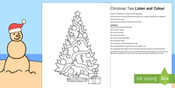 Christmas Tree Listen and Colour Activity Sheet