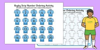 Rugby Strip Number Ordering Activity Polish Translation - polish