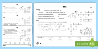 ng Sound Differentiated Crossword - reading, spellings, phonics, grammar , jolly phonics, jolly grammar, ng sound, first class, second c