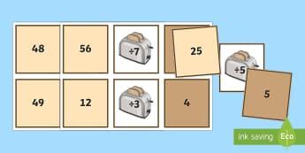 Tarjetas de emparejar ¡Tuesta los números! - Divisiones con una cifra Tarjetas de emparejar - Spanish / Español-Spanish - ES Matemáticas - Dividir, pan, rebanadas, división, una cifra,