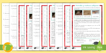 Comprensión lector de atención a la diversidad: Animales y criaturas peligrosos - leer, lectura, peligroso, naturaleza, animales, criaturas, insectos, comprensión, lector, lee, escr
