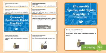 Fframwaith Cymhwysedd Digidol Blwyddyn 1 Cardiau Her - Fframwaith Cymhwysedd Digidol, Blwyddyn 1, Cardiau Her, Wales, Welsh.,Welsh