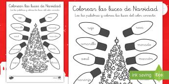 Hoja de colorear: Las luces navideñas - pintar, motricidad fina, creativo, creatividad, navideño, navideña - pintar, motricidad fina, creativo, creatividad, navideño, navideña
