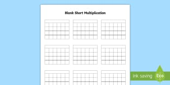 Blank Short Multiplication Activity Sheet - Blank Short Multiplication Template - multiplication methods, written method, short multiplication,