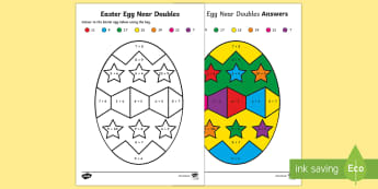 Easter Egg Near Doubles Colour by Number - NI Easter, Easter, Maths, Doubles, Near Doubles, Colouring Pages, Colouring In, Easter Egg, addition