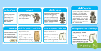 Traditional Inuit Winter Clothing Flashcards - Inuit, Canadian aboriginal people, Nunavut, North, Arctic, Winter clothing, traditions, flashcards