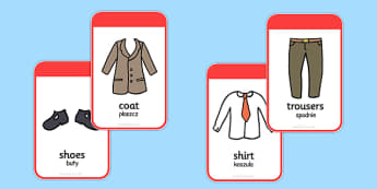 Clothing Flashcards Polish Translation - polish, clothing, flashcards, flash cards