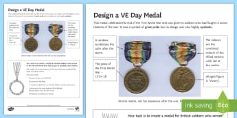 Design a VE day medal Activity Sheet - Secondary - Event - VE Day 08/05/2017, medal, second world war, worksheet, armed forces, remembrance