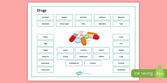 Drugs Word Mat