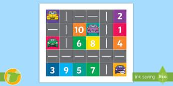 Tapiz de Bee-Bot: Aparcar con números - robot, blue-bot, coche, transporte, bee, bot, instrucciones, ,Spanish