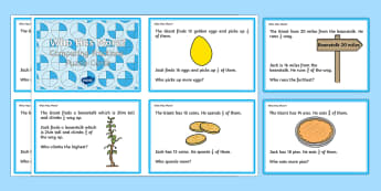 Compare Different Fractions of Amounts Challenge Cards - Fractions, 1/2, 1/3, 1/4, 3/4, half, halves, quarter, third, divide, share, jack and the beanstalk,