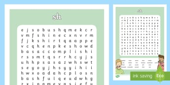 sh Sound Differentiated Word Search  - bashful, wash, push, shine, fish, rash, shale