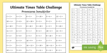 KS1 Ultimate Times Tables Challenge Activity Sheet Romanian/English - worksheet, maths, multiplication, multiply, recall, EAL