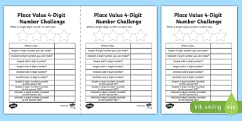 Place Value 4 Digit Number Challenge Activity Sheet-Scottish, worksheet