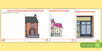 Houses and Homes Complete the Symmetrical Picture Activity Sheet Pack, worksheet