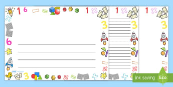 Numeracy Full Page Border (Landscape) - page border, border, frame, writing frame, writing template, numeracy, numeracy borders, numeracy pages, numbers, writing aid, writing, A4 page, page edge, writing activities, lined page, lined pages