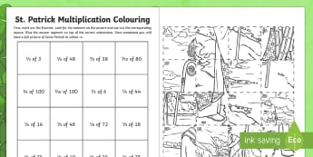 St. Patrick's Fractions of Numbers Colouring Activity Sheet - Northern Ireland, Ireland, Saint, Saint Patrick, St. Patrick, Fractions, Maths Activity, Art activit