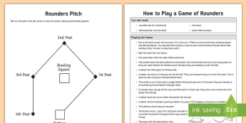 Rounders  Activity Pack - PE, summer, pitch, set up, plan, batting, bases, bowling, stumps