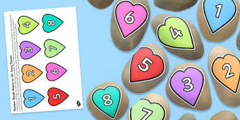 Number Bonds Matching Hearts up to 10 Story Stone Image Cut-Outs - Story stones, stone art, painted rocks, storytelling, festivals, celebrations
