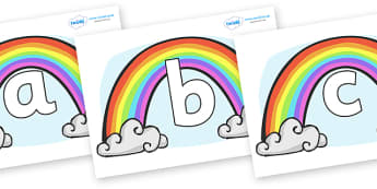 Phoneme Set on Rainbows - Phoneme set, phonemes, phoneme, Letters and Sounds, DfES, display, Phase 1, Phase 2, Phase 3, Phase 5, Foundation, Literacy