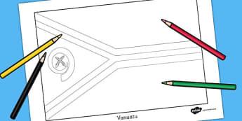Vanuatu Flag Colouring Sheet - countries, geography, colour