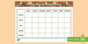 Mangiare Sano il Mio Diario Alimentare - diario, alimentare, cibo, salute, salutare, alimentazione, italiano, italian