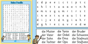 Meine Familie Word Search German - german, my family, wordsearch, word search, family