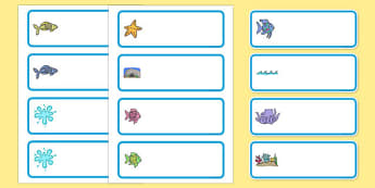 Editable Drawer-Peg-Name Labels to Support Teaching on The Rainbow Fish - The Rainbow Fish, Marcus Pfister, resources, Rainbow Fish, PSHE, PSE, octopus, shimmering scales, starfish, friendship, under the sea, sea, story, story book, story book resour