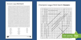 Champions League Final Word Search Activity Sheet - Secondary - Event - Champions League Final