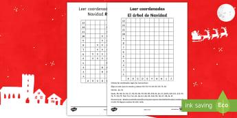 Leer coordenadas: El árbol de Navidad - Navidad, matemáticas, árbol de Navidad, coordenadas, gráficos, ficha de actividad, navideño, nav