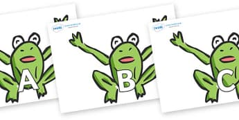 A-Z Alphabet on Frogs - A-Z, A4, display, Alphabet frieze, Display letters, Letter posters, A-Z letters, Alphabet flashcards