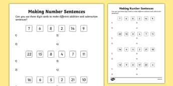 Making Number Sentences Activity Sheet, worksheet