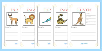 Escaped Animal Writing Frames - animals, zoo, writing, write