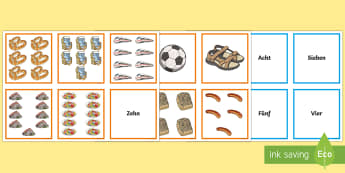 Numbers Zero to Ten Picture and Word Matching Cards German - Numbers, Counting, German, Memory Game, pairs, match, matching, images, maths, numeracy, starter, fu