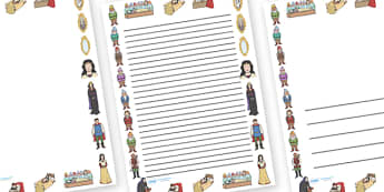 Snow White and the Seven Dwarfs Page Borders - Snow White and the Seven Dwarfs, Snow White, Dwarfs, Seven Dwarfs, traditional tale, page border, border, writing template, writing aid, writing, tale, magic mirror, the queen, prince, forest, old hag, p