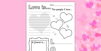 Valentines Day Worksheet - worksheets, worksheet, work sheet, valentines day, valentines, valentines worksheet, acrostic poem worksheet, people I love worksheet, sheets, activity, writing frame, filling in, writing activity