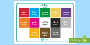 Colour Word Mat English/Arabic Phonetic - Colour, vocabulary, spelling, word list, colours, rainbow, arabic phonetic,UAE