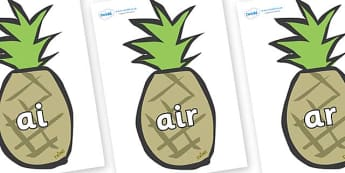 Phase 3 Phonemes on Pineapples - Phonemes, phoneme, Phase 3, Phase three, Foundation, Literacy, Letters and Sounds, DfES, display