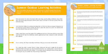 Summer Outdoor Learning Activities Parent and Carer Information Sheet - Early years, outdoor learning, summer activities, outside, warm, weather, seasons, activities, flowe