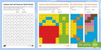 Summer Phase 3 Phonics Mosaic Activity Sheets - worksheets, read, digraph, sounds, solve,Decode