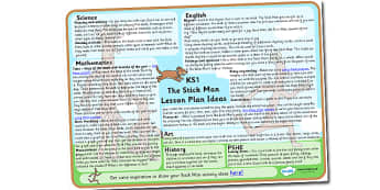 Lesson Plan Ideas KS1 to Support Teaching on Stick Man - stick man lesson ideas, stick man lesson plan, ks1 stick man lesson planner, stick man mtp, lesson plan, story book ideas