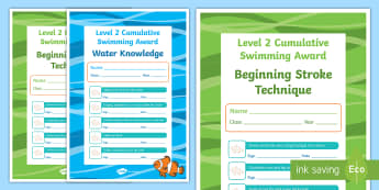 Level 2 Cumulative Swimming Certificates - physical education, swimming, aquatics, Level 2, cumulative, certificates, swim, skills, award, wate