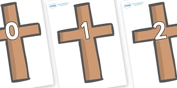 Numbers 0-100 on Crosses - 0-100, foundation stage numeracy, Number recognition, Number flashcards, counting, number frieze, Display numbers, number posters