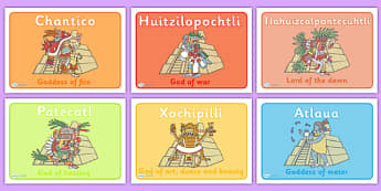 Aztec God Group Display Posters - Aztec, aztec people, Mexican, Gods, aztec gods, history, Mexico, display, banner, poster, sign, tenochtitlan, texcoco, lake, temple, tenoch, Valley of Mexico