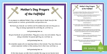 Mother's Day Prayers of the Faithful Print-Out - prayers of the faithful, Roman Catholic, religion, prayer service, assembly, print-out, Easter, Moth